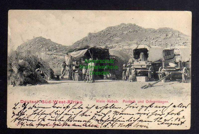 Ansichtskarte DSW Deutsch Südwest Afrika Klein Kubub Pontack und Ochsenwagen 0