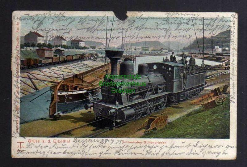 Ansichtskarte Schönpriesen Aussig Usti Kohlenhafen Elbe Lastkahn Lok Dampflok 1905 0