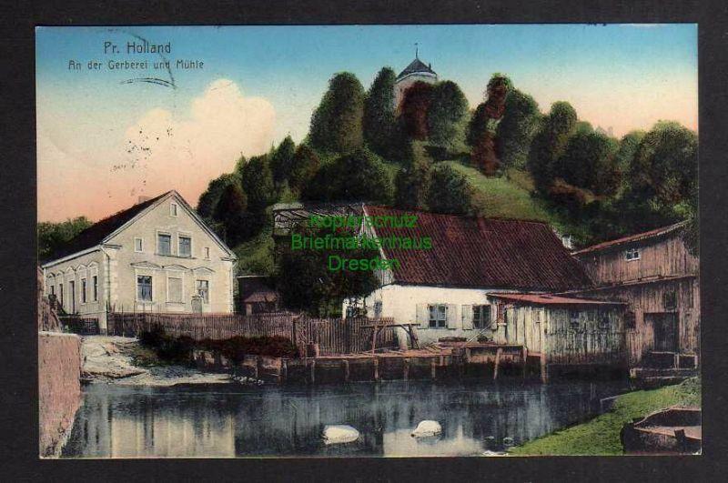 Ansichtskarte Preußisch Holland 1916 An der Gerberei und Mühle 0