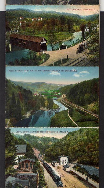 15 Ansichtskarte Greiz im Leporello Bahnhof Station Rentzschmühle Barthmühle Jocketa 0