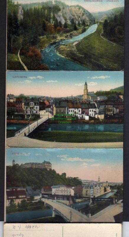 15 Ansichtskarte Greiz im Leporello Bahnhof Station Rentzschmühle Barthmühle Jocketa 1