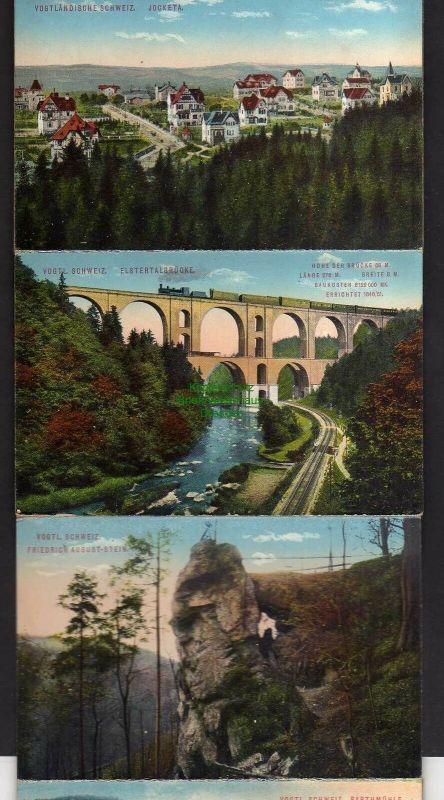 15 Ansichtskarte Greiz im Leporello Bahnhof Station Rentzschmühle Barthmühle Jocketa 2