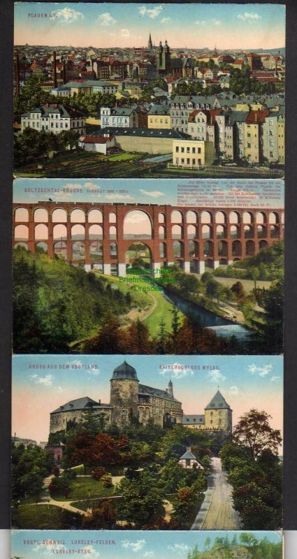 15 Ansichtskarte Greiz im Leporello Bahnhof Station Rentzschmühle Barthmühle Jocketa 4