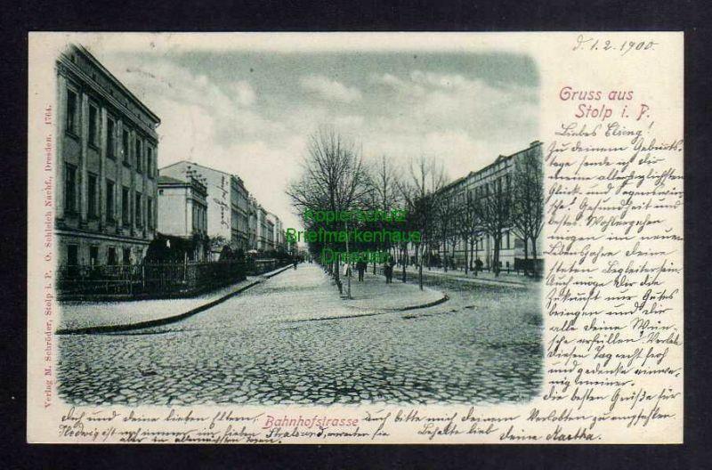 Ansichtskarte Stolp i. Pom. 1900 Bahnhofstrasse Verlag M. Schröder 0