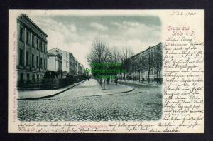 Ansichtskarte Stolp i. Pom. 1900 Bahnhofstrasse Verlag M. Schröder