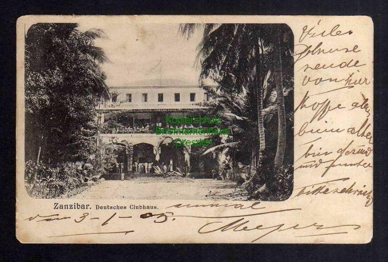Ansichtskarte Zanzibar Ostafrika 1905 Deutsches Clubhaus