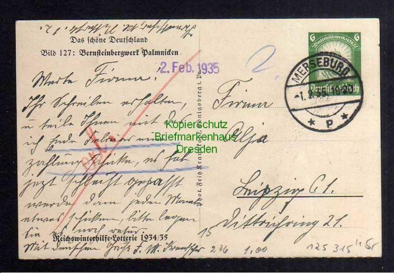 Ansichtskarte Palmnicken Jantarny Bernsteinwerk Reichswinterhilfe Lotterie 1934 / 35 1