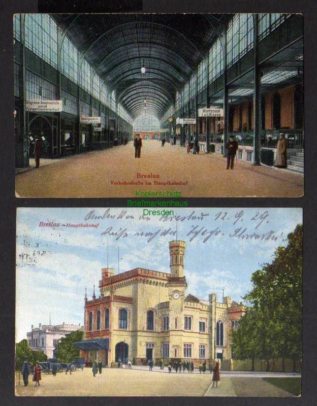 2 Ansichtskarte Breslau Hauptbahnhof 1929 Verkehrshalle Wartesaal I. und II. Klasse 0
