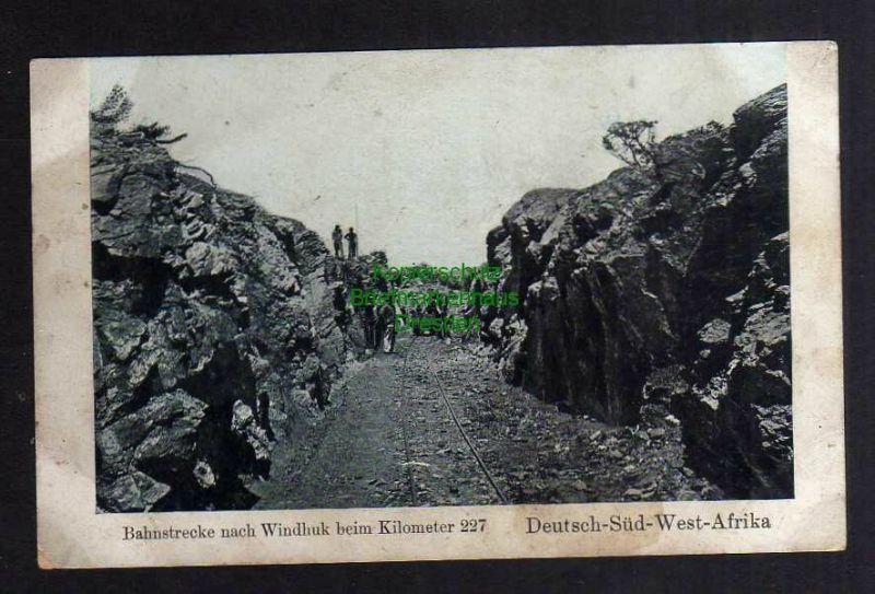 Ansichtskarte Bahnstrecke nach Windhuk bei Kilometer 227 Deutsch Südwest Afrika um 1