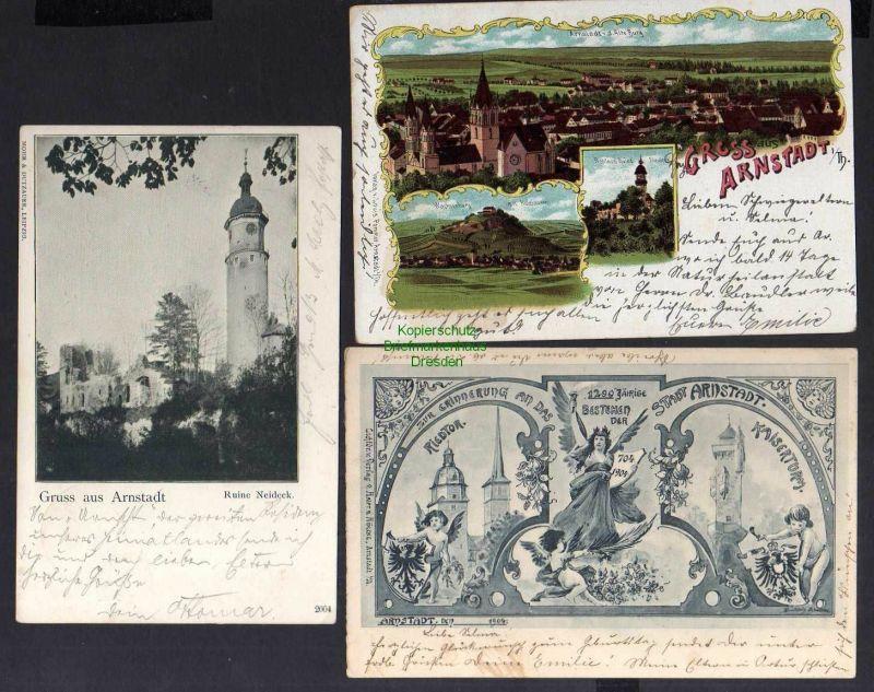 3 Ansichtskarte Arnstadt Litho 1902 1200 Jahrfeier 1904 Ruine Neideck 1900 0