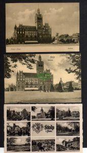 3 Ansichtskarte Stolp i. Pom. Rathaus um 1920 Denkmal Reiterstandbild 1x verändert B
