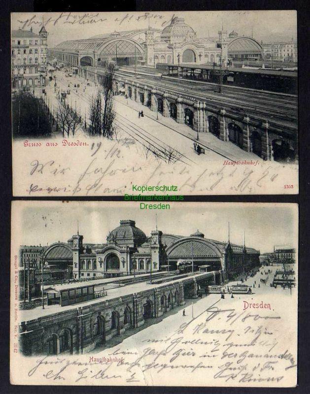 2 Ansichtskarte Dresden Hauptbahnhof 1899 Aufdruck Automat Actien Gesellschaft Relie 0
