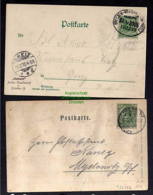 2 Ansichtskarte Dresden Hauptbahnhof 1899 Aufdruck Automat Actien Gesellschaft Relie 1