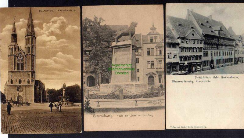 3 Ansichtskarte Braunschweig August Straße Geschäftshaus Gebr. Dannenbaum Säule mit