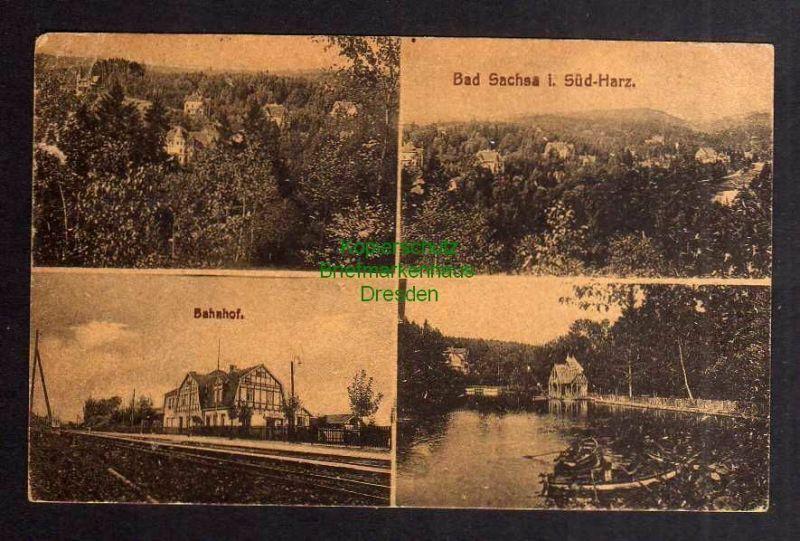 Ansichtskarte Bad Sachsa Südharz Bahnhof Panorama 1920 0