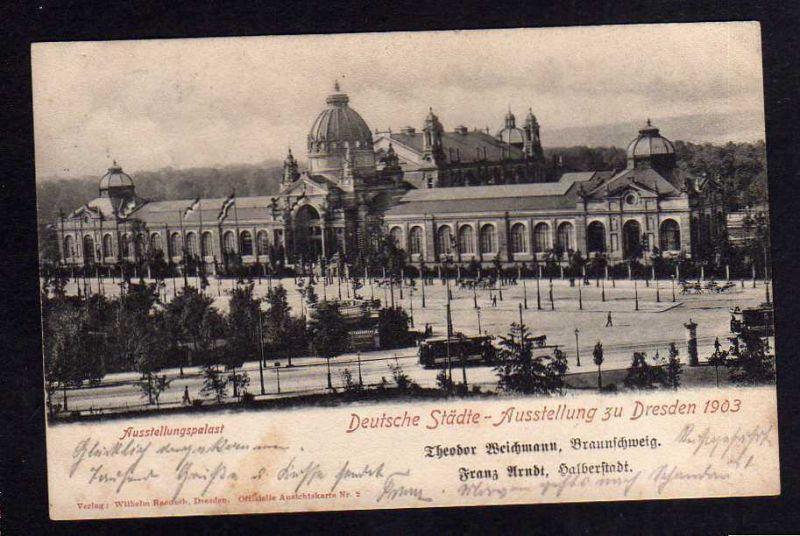 Ansichtskarte Dresden 1903 Ausstellung Ausstellungspalast Sonderstempel SST 0