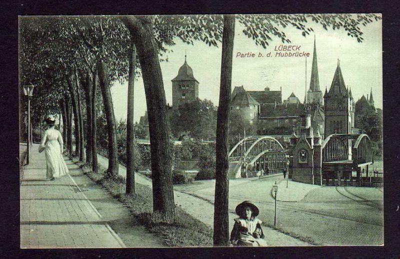 Ansichtskarte Lübeck Partie bei der Hubbrücke um 1920 0