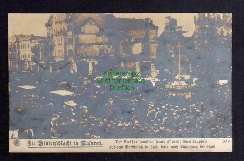 Ansichtskarte Lyck Lötzen 1915 Fotokarte Winterschlacht Masuren Kaiser inmitten sein 0