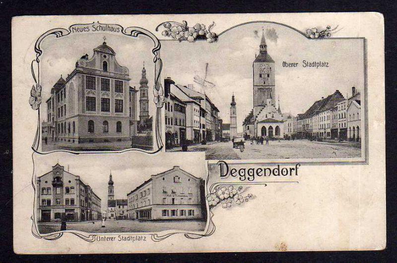 Ansichtskarte Deggendorf Oberer Stadtplatz 1912 Neue Schule Cafe & Restauration am U 0
