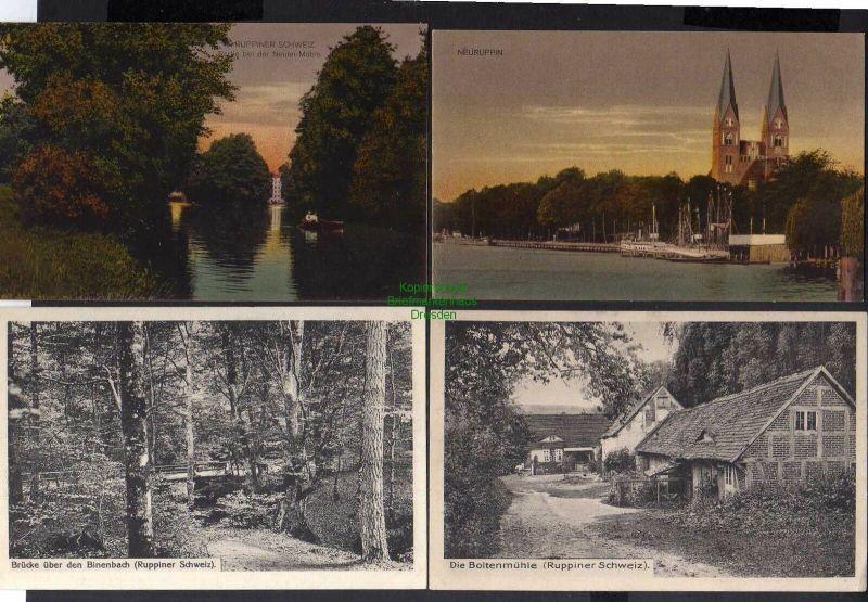 4 Ansichtskarte Neuruppin Kirche Neue Mühle 1915 Boltenmühle1914 Brücke über den Bin 0