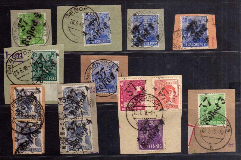 h2688 Handstempel Bezirk 37 Rostock 14 Werte gestempelt Briefstücke gepr. BPP mi
