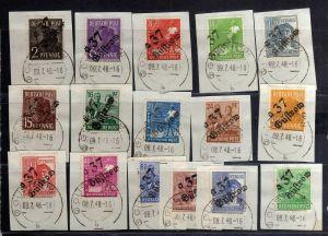 h2702 Handstempel Bezirk 37 Güstrow Satz 16 Werte gestempelt Briefstück gepr. BP