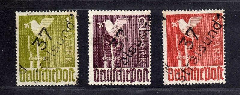 h2664 Handstempel Bezirk 37 Stralsund 1 - 3 Mark Taube * gepr. BPP