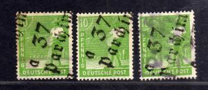 h2660 Handstempel Bezirk 37 Parchim a 3x 10 Pfg. gestempelt gepr. BPP  Poststell