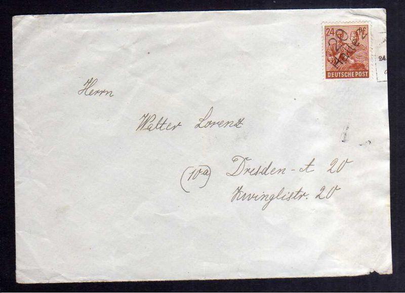 H2862 Handstempel Bezirk 20 Halle 2, 24 Pfennig Bedarfsbrief sowjetische Zensur