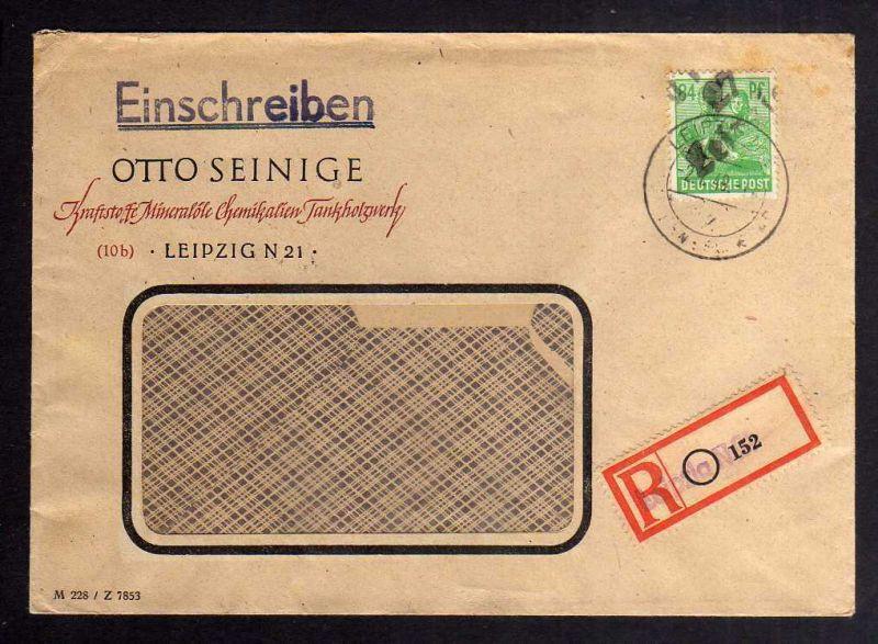 H2927 Handstempel Bezirk 27 Leipzig 84 Pfennig AS Bedarfsbrief 29.6.48 Einschrei
