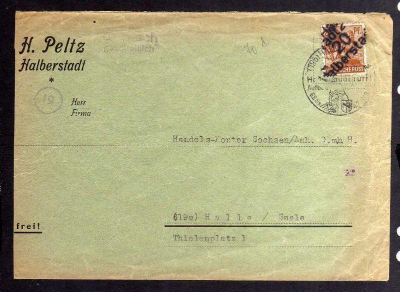 H2859 Handstempel Bezirk 20 Halberstadt gepr. BPP Bedarfsbrief nach Halle Saale