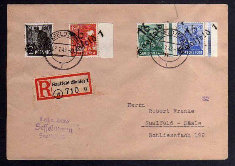 H2842 Handstempel Bezirk 16 Saalfeld 3.7.48 Einschreiben 2,8,16,50 Pfennig