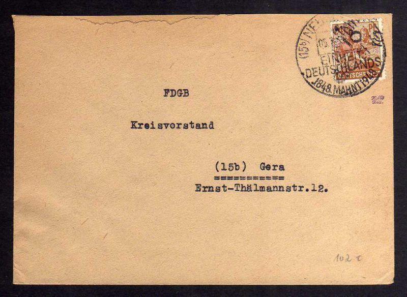 H2834 Handstempel Bezirk 16 Neustadt Orla 24 Pfg. Fernbrief FDGB Bedarf SST Einh