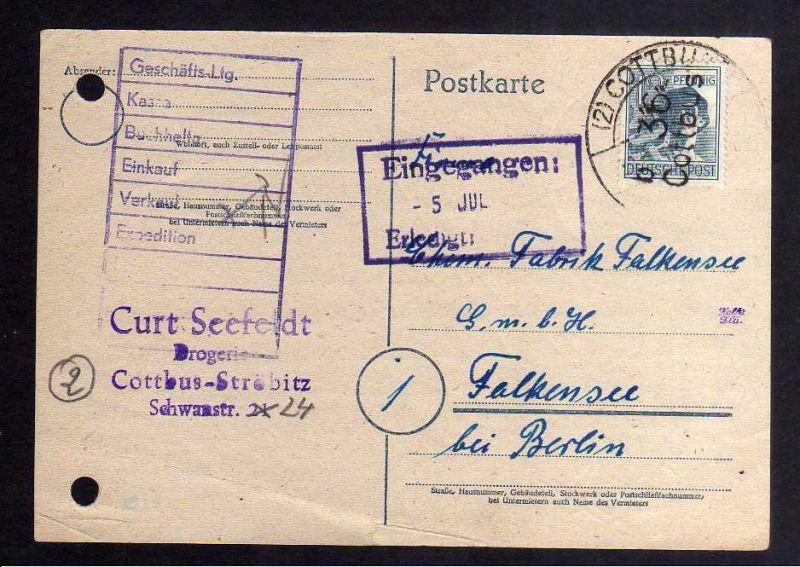 H2945 Handstempel Bezirk 36 Cottbus 12 Pfg. Postkarte gepr. BPP Auftrags Storno