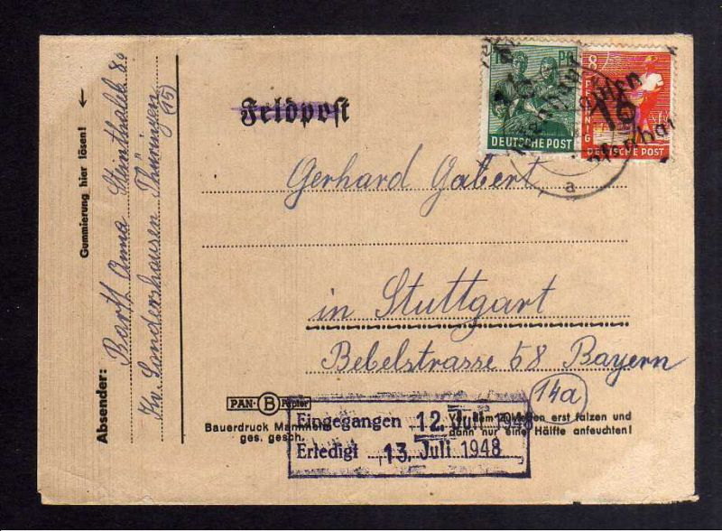 H2844 Handstempel Bezirk 16 Sondershausen 8,16 Pfg Faltbrief Fernbrief gepr. BPP