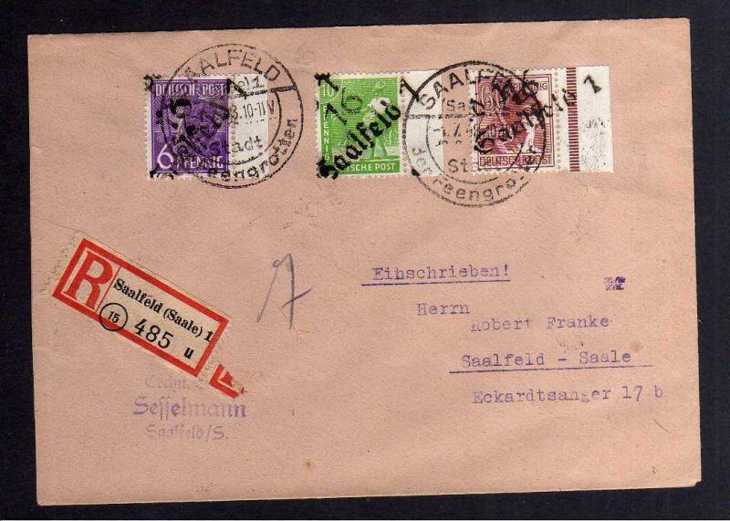 H2841 Handstempel Bezirk 16 Saalfeld 1.7.48 Einschreiben 6 , 10 , 60 Pfennig