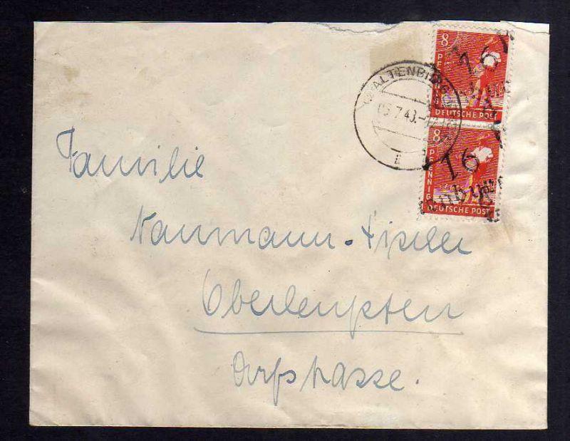 H2822 Handstempel Bezirk 16 Altenburg 2x 8 Pfg. Ortsbrief 5.7.48