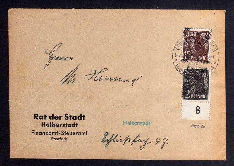 H2860 Handstempel Bezirk 20 Halberstadt 15 + 2 Pfennig gepr. BPP Ortsbrief Finan