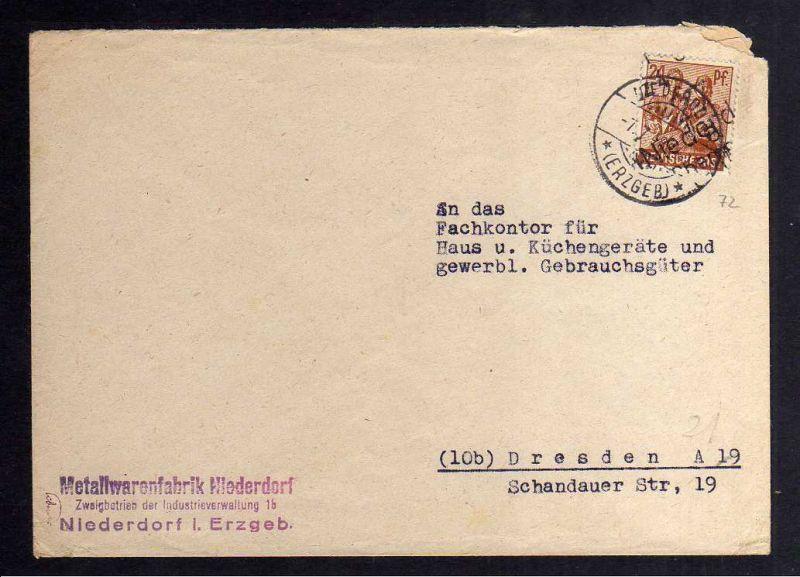 H2905 Handstempel Bezirk 27 Niederdorf Chemnitz 4 Bedarfsbrief 7.7.48
