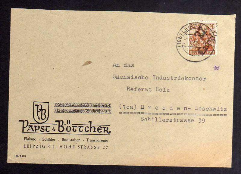 H2915 Handstempel Bezirk 27 Leipzig 24 Pfg. Brief Papst & Böttcher gepr. BPP nac