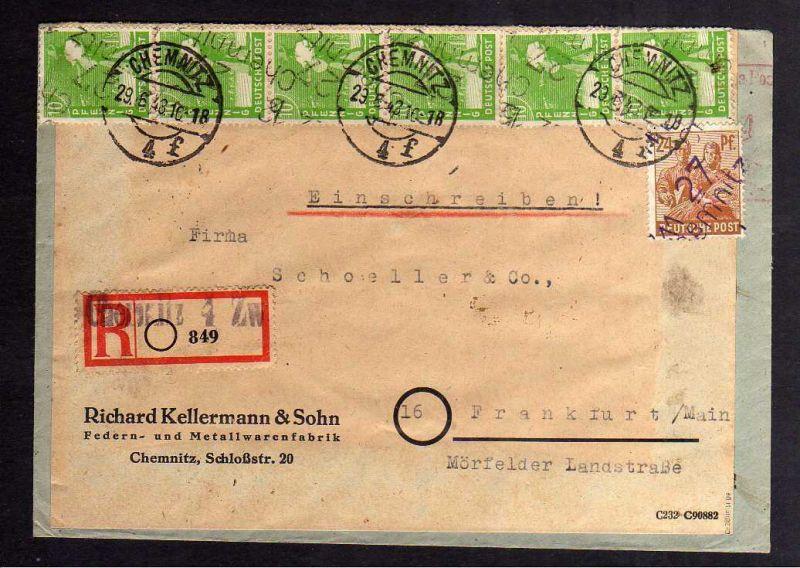 H2913 Handstempel Bezirk 27 Chemnitz 12 4x 10, 24 Pfennig AS Bedarfsbrief 29.6.4