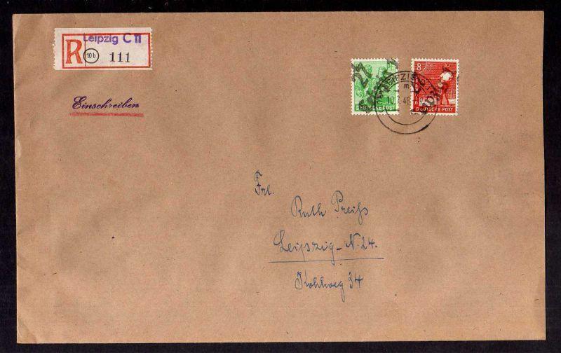 H2929 Handstempel Bezirk 27 Leipzig 1 84 + 8 Pfg. 10.7.48 gepr. BPP Einschreiben
