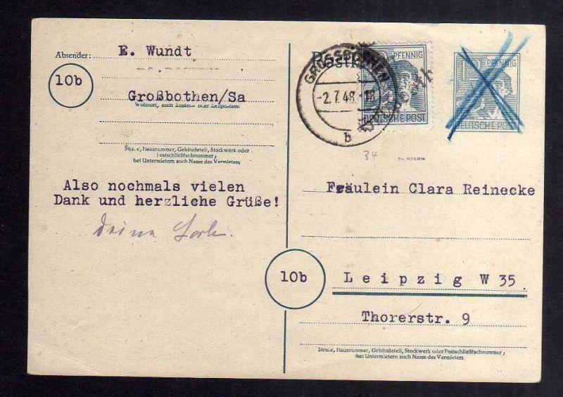 H2898 Handstempel Bezirk 27 Großbothen Bedarf Postkarte 2.7.48 gepr. BPP