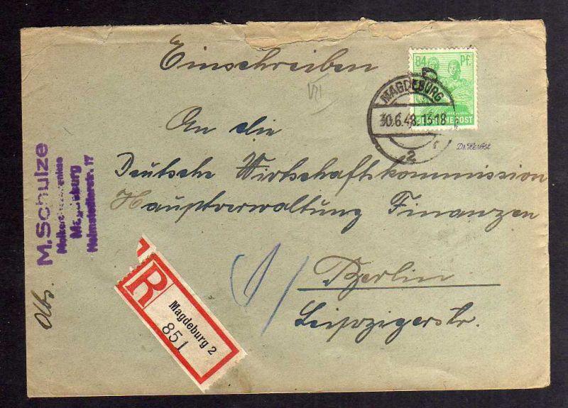 H2881 Handstempel Bezirk 20 Magdeburg 2 gepr. BPP Einschreiben 84 Pfg. 181 Schul