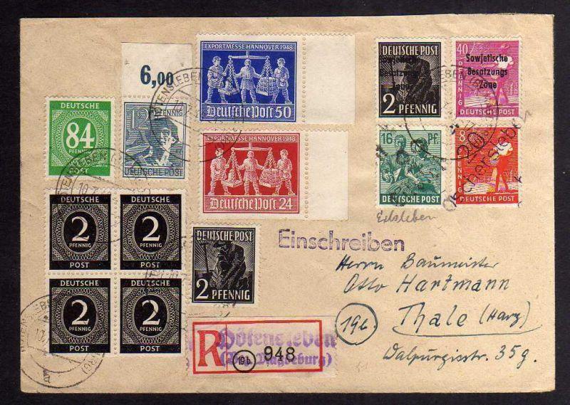 H2934 Handstempel Bezirk 29 Eilsleben Hötensleben Oschersleben Brief 10.7.48 Ein