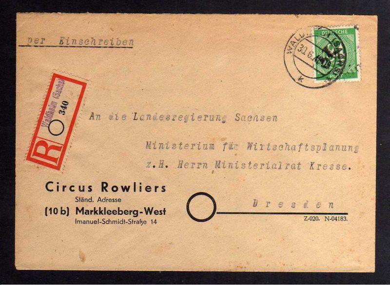 H2909 Handstempel Bezirk 27 Waldheim Ziffer 84 Bedarfsbrief 30.6.48 Kresse Brief