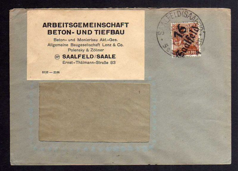 H2843 Handstempel Bezirk 16 Saalfeld 8.7.48 24 Pfennig gepr. BPP Bedarfsbrief Ar