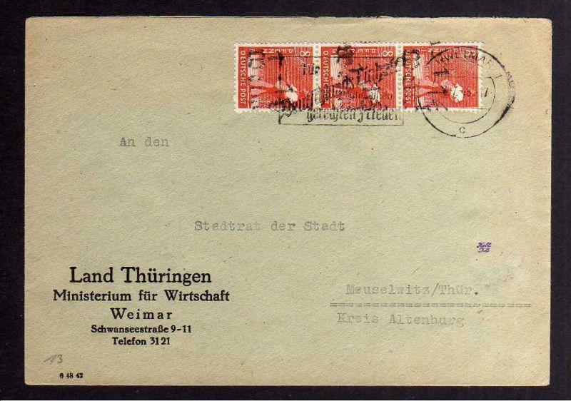 H2847 Handstempel Bezirk 16 Weimar 3x 8 Pfg. Ortsbrief gepr. BPP Bedarfsbrief La