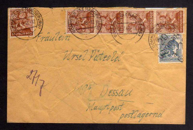 H2856 Handstempel Bezirk 20 Gommern 2.7.48 12 Pfennig gepr. BPP Bedarfsbrief + Z