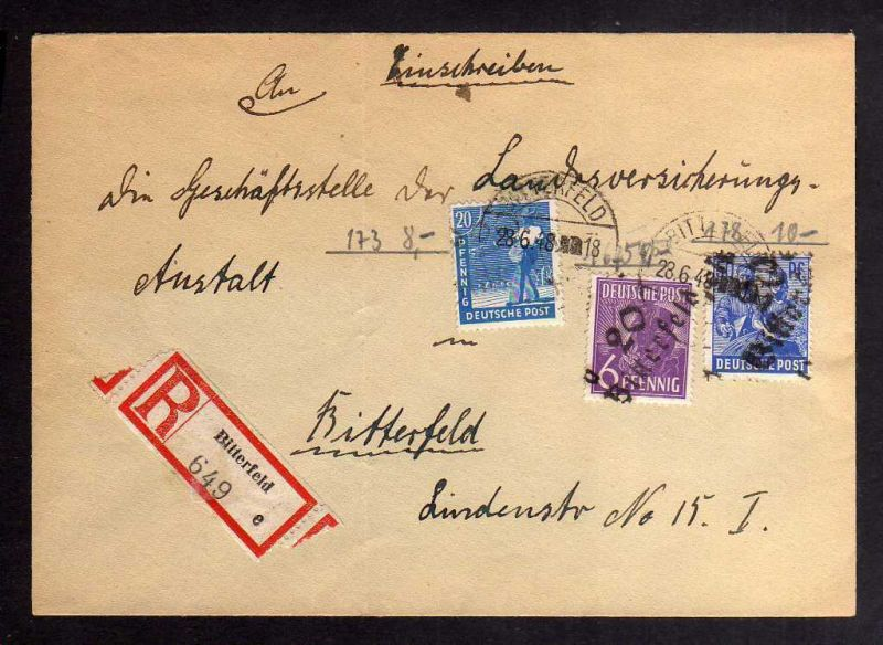 H2852 Handstempel Bezirk 20 Bitterfeld gepr. BPP Orts-Einschreiben 76 Pfg.